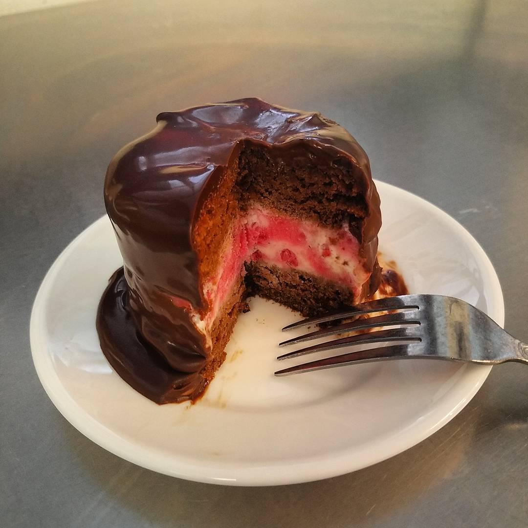 Va Bene Instagram Photo: Definitely shareable, though you may not be able to. Rich chocolate cake, filled with raspberry creme gelato and covered in bittersweet ganache
