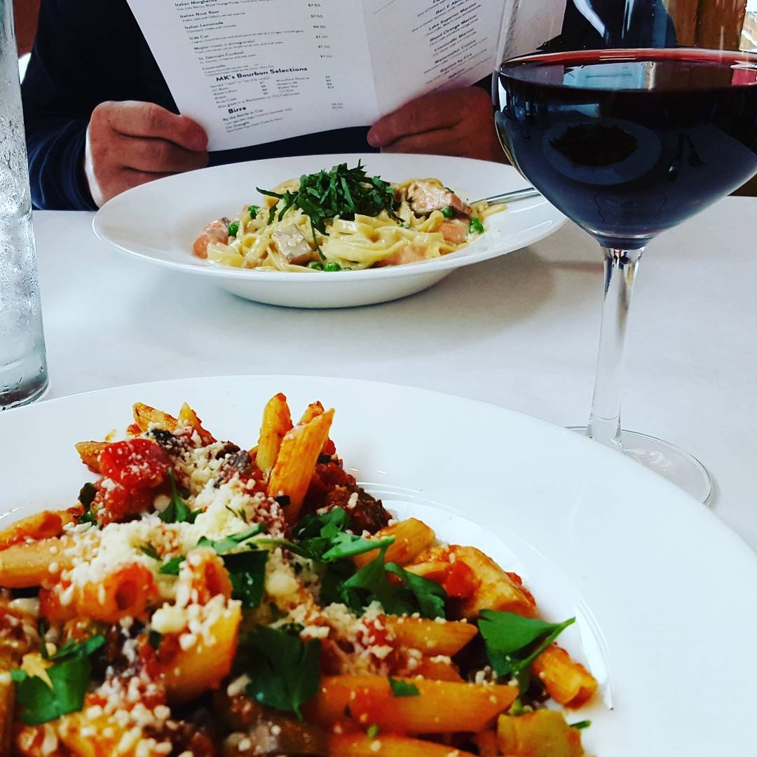 Va Bene Instagram Photo: @cathylouwho First time to try a #montepulciano. Delish! Complemented my pasta primavera (plus meatballs) very nicely! #vabenecaffe #wineanddine #duluth #italianfood