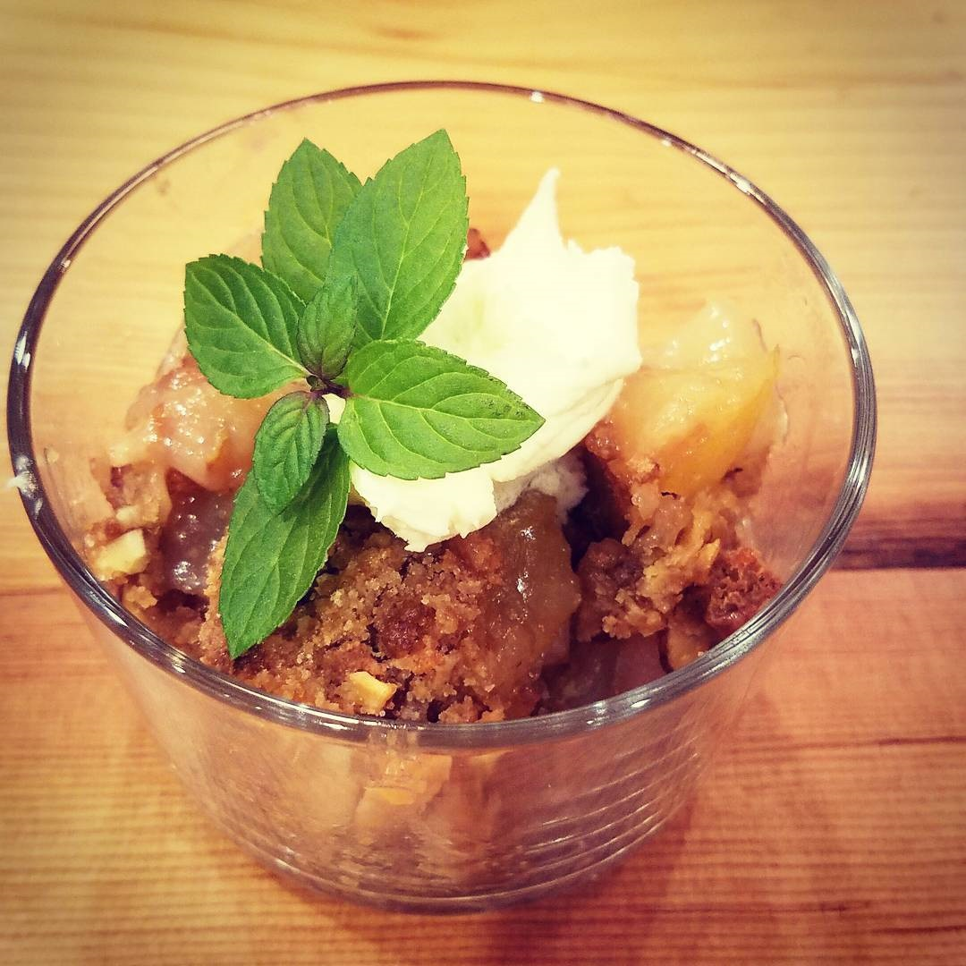 Va Bene Instagram Photo: @vabenecaffe Apple pear crisp with amaretti cookie crumble. I topped with a dollop of mascarpone. #falldesserts #vabeneduluth