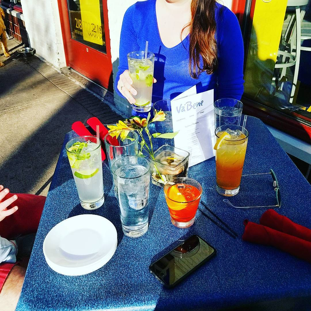 Va Bene Instagram Photo: @vabenecaffe Mojitos, old fashionds, and tea oh my! Beautiful day for a happy hour or two outside